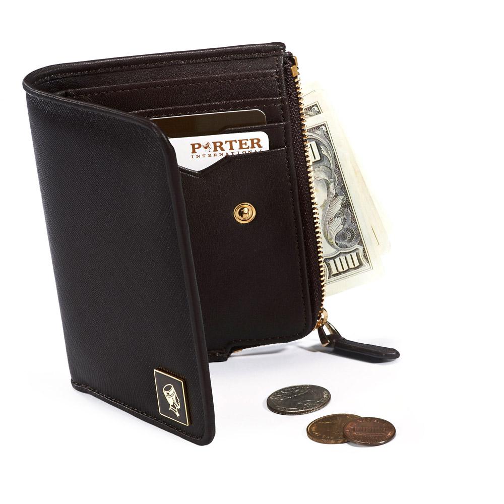 PORTER - 法式時尚 BEND 造型零錢皮夾 - 咖啡