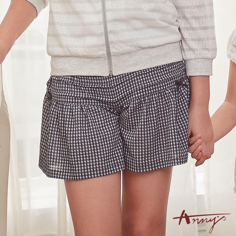 Annys安妮公主-百搭舒適透氣鬆緊帶小蝴蝶結格紋褲裙*8320藍