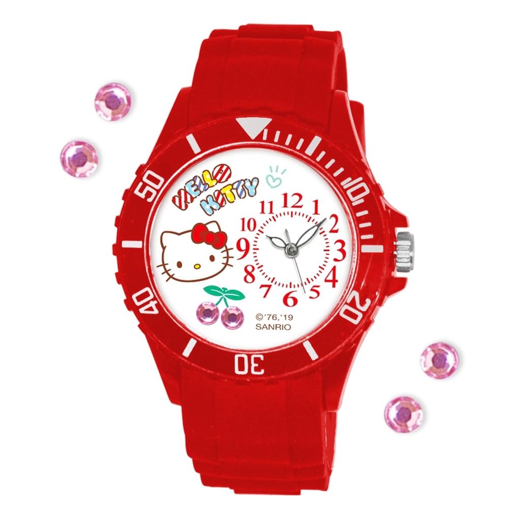 Sanrio三麗鷗偏機芯貼鑽系列運動彩帶錶-Hello Kitty櫻桃凱蒂貓40mm紅色