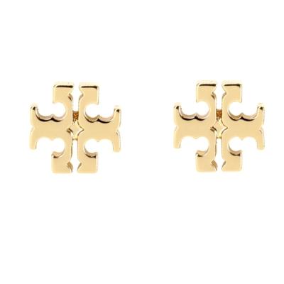 TORY BURCH LOGO STUD 雙T鍍金黃銅耳針式耳環 (金色)