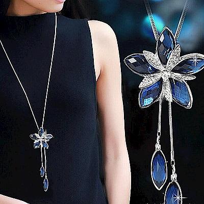 梨花HANA  藍水晶閃閃花卉盛開長項鍊