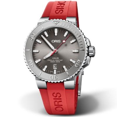 ORIS Aquis Relief 時間之海日期潛水錶-43.5mm灰面/紅膠帶