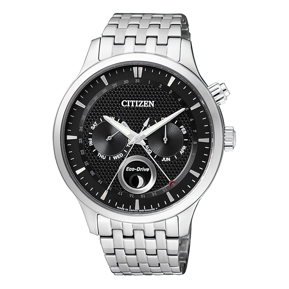 CITIZEN 星辰Eco-Drive簡約月相鋼帶腕錶-黑色(AP1050-56E)