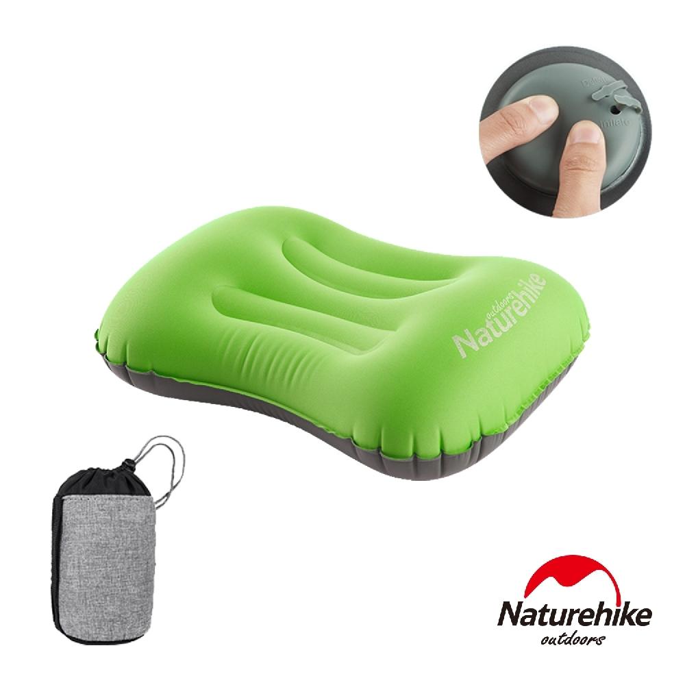 Naturehike 按壓式 超輕便攜戶外旅行充氣睡枕 靠枕 果綠色-急