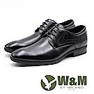 W&M 真皮十字壓紋造型綁帶皮鞋 男鞋 - 黑