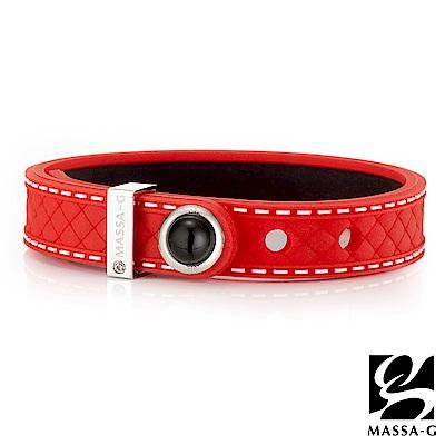 MASSA-G ONLY U唯你天然石鍺鈦手環-品牌菱格紋(紅)