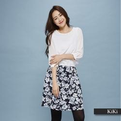 【KiKi】斯文雪紡碎花拼接七分袖-洋裝(二色)