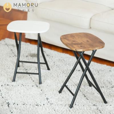 [時時樂 買一送一] MAMORU 日系木紋圓角工藝摺疊椅凳/摺疊凳/穿鞋椅
