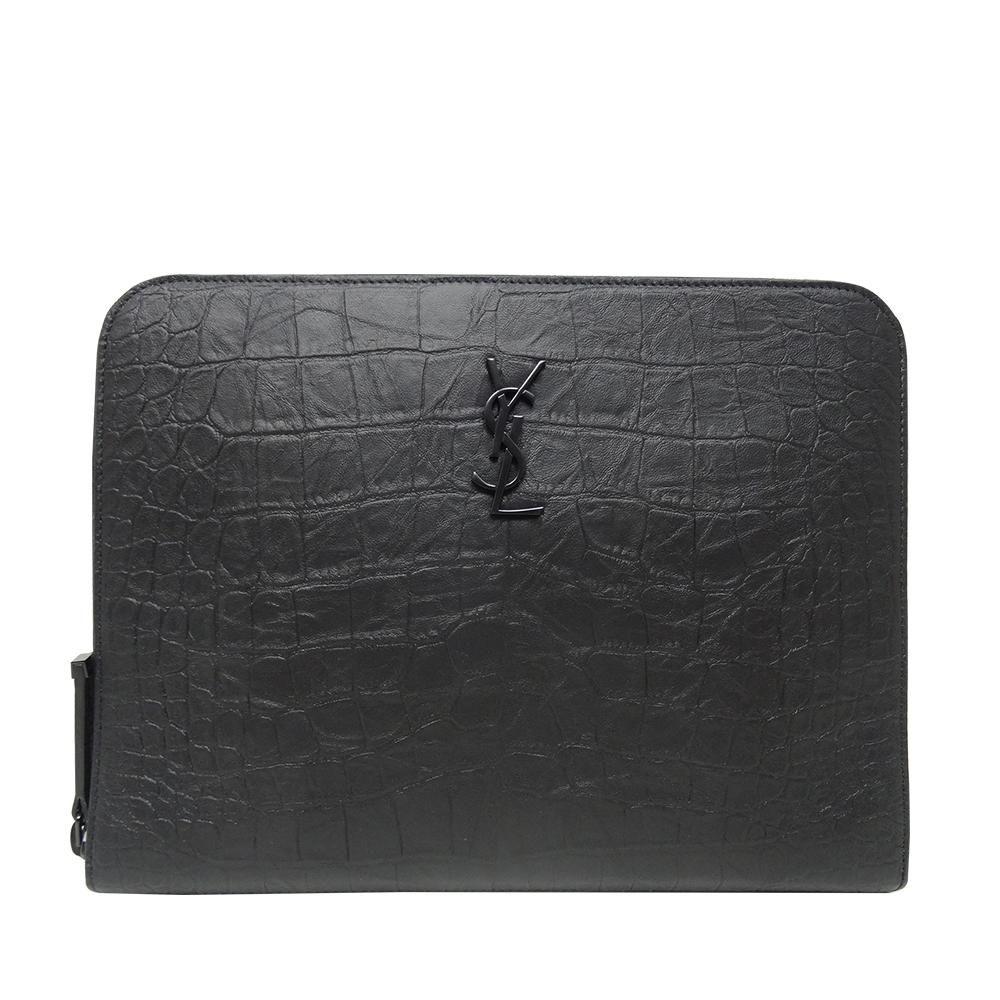 YSL MONOGRAM牛皮壓鱷魚皮紋手拿收納包(黑色)