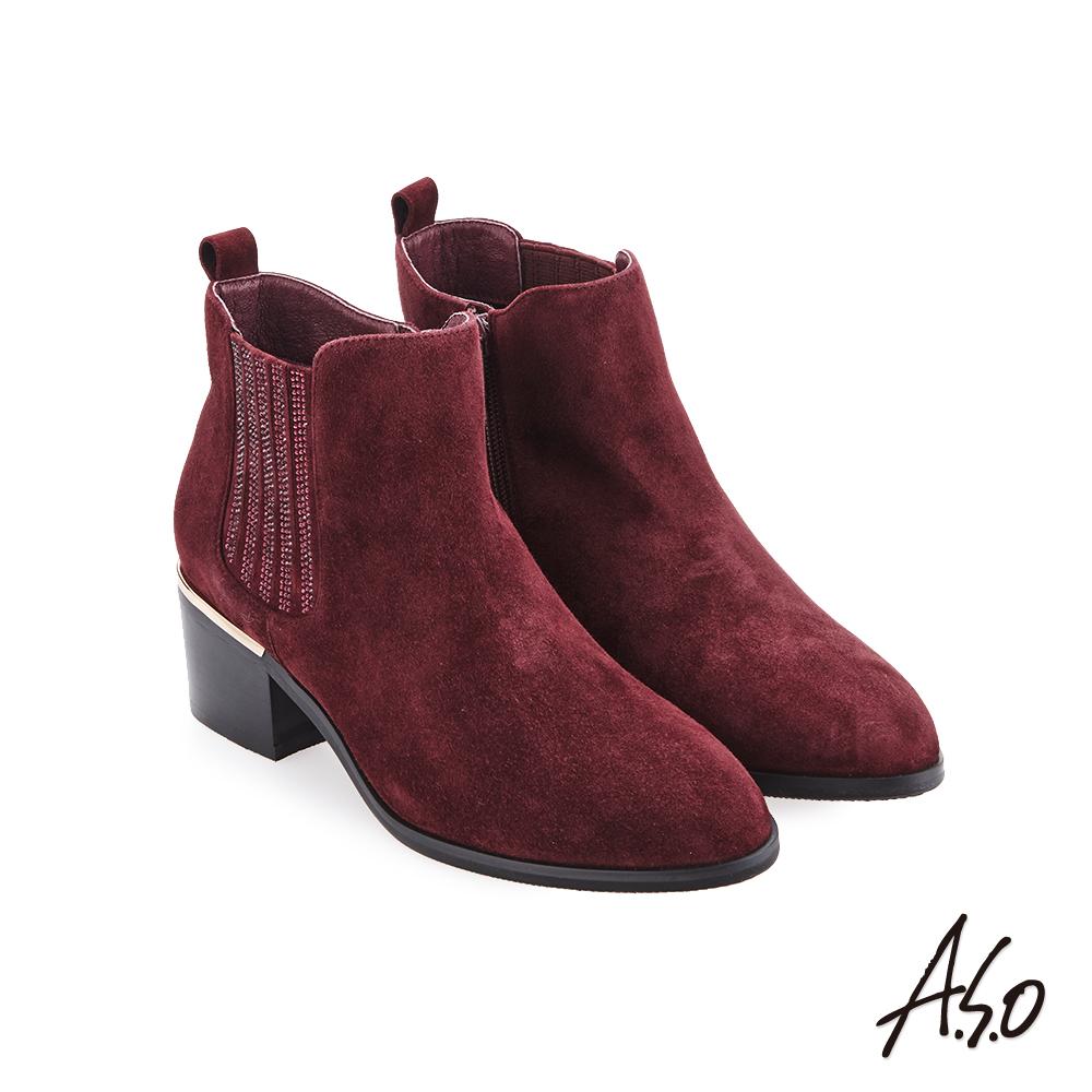 A.S.O 品味非凡 側邊燙鑽羊絨靴 酒紅