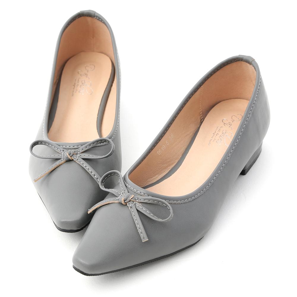 D+AF 春日繽紛.蝴蝶結尖頭低跟娃娃鞋*藍
