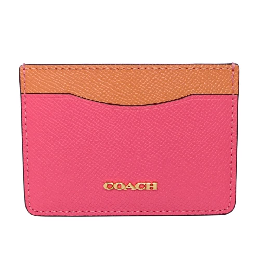 COACH淺桃粉橘撞色防刮全皮一片式雙面票卡夾