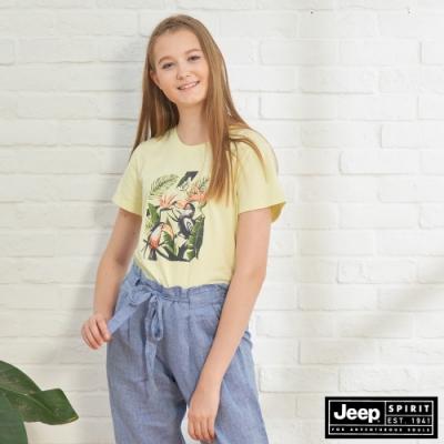 JEEP 女裝 熱帶圖騰短袖TEE-淡黃