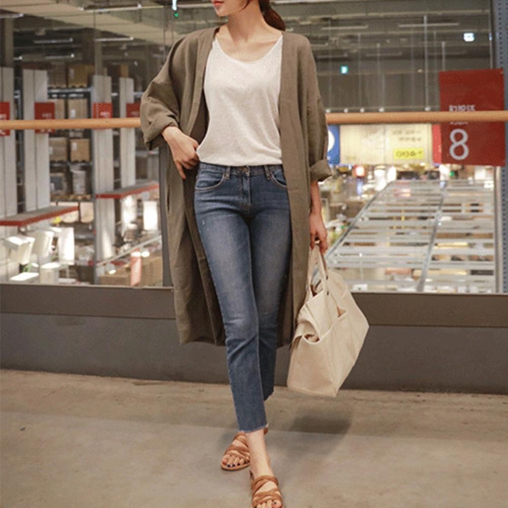 初色  純色韓系長版罩衫-共3色-(M-2XL可選)