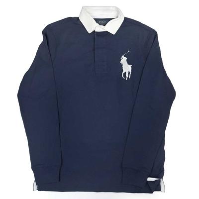 Polo Ralph Lauren 海軍藍色大馬Logo長袖POLO上衣(Custom Slim Fit)