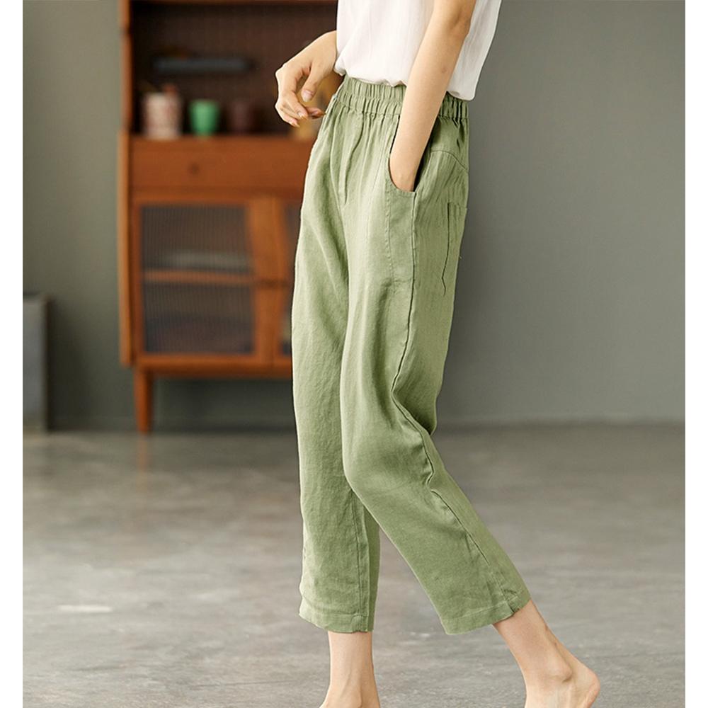 高腰顯瘦亞麻褲內包邊哈倫褲-設計所在 (清新綠)