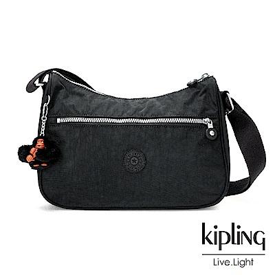 Kipling柏油黑素面側背包(中)