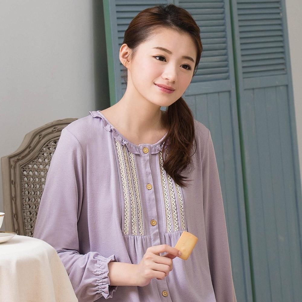 華歌爾睡衣-EKS發熱 M-L 長袖褲裝(紫)睡眠研究