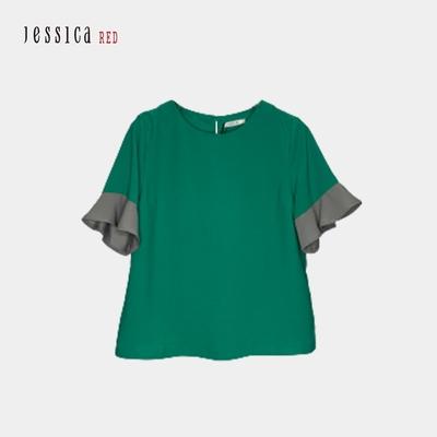 JESSICA RED - 百搭圓領拼色短袖雪紡上衣(綠)