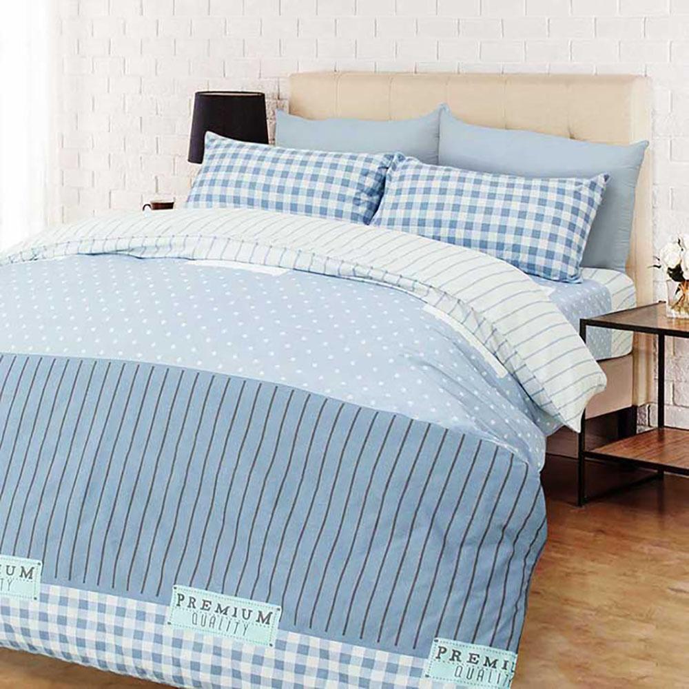 【Effect】MIT製造天鵝絨棉床包枕套+兩用被套組(單人三件套)B