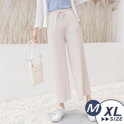 【LANNI 藍尼】韓系涼感冰絲針織闊腿褲-5色+