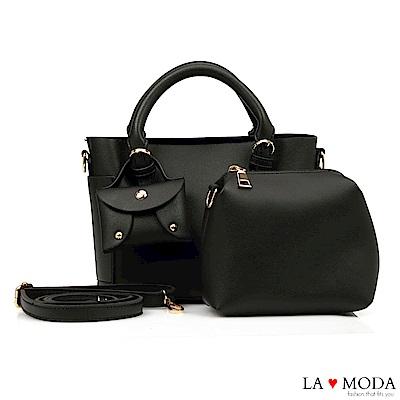 La Moda 小巧零錢包墜飾大容量2WAY肩背斜背子母包托特包(黑)