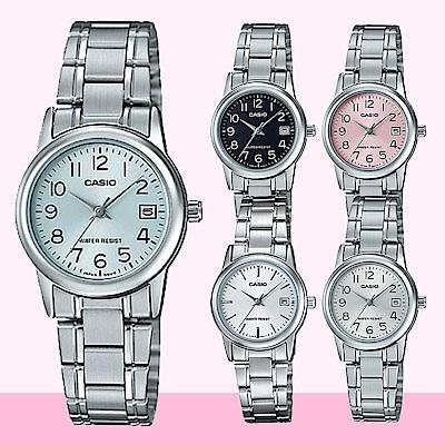CASIO卡西歐簡簡單單澄澈鋼帶女錶(LTP-V002D)-銀框/31mm