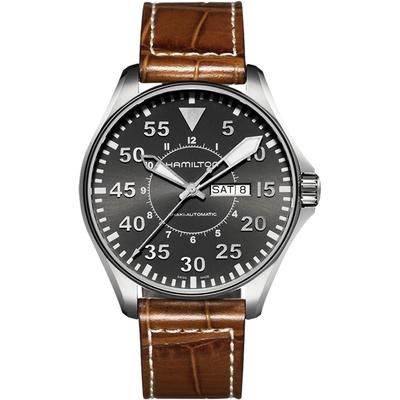 Hamilton 漢米爾頓 Khaki Aviation卡其飛行機械錶-灰x咖啡/46mm H64715885