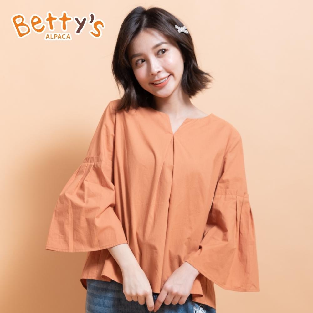 betty's貝蒂思 寬鬆垂墜感小V領上衣(橘色)