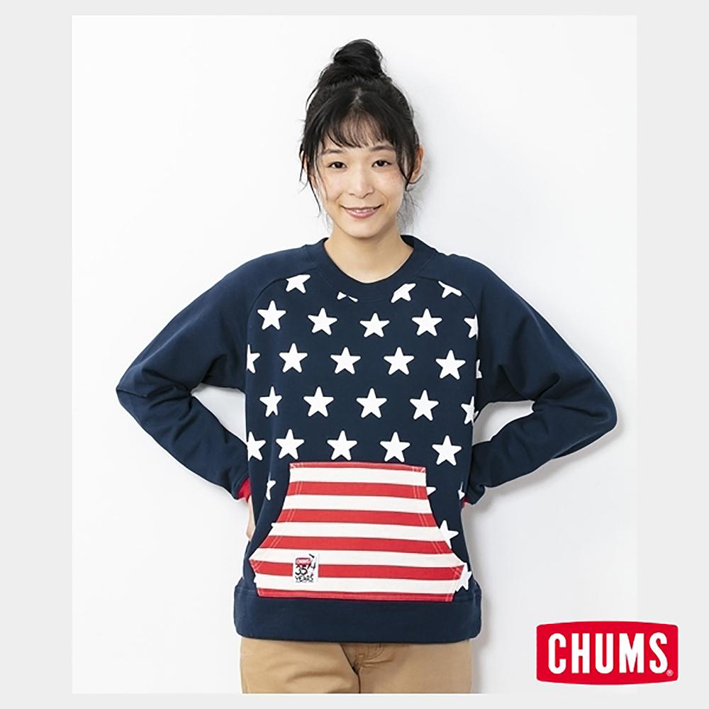 CHUMS 日本 女 35周年紀念大學T 國旗星星 藍