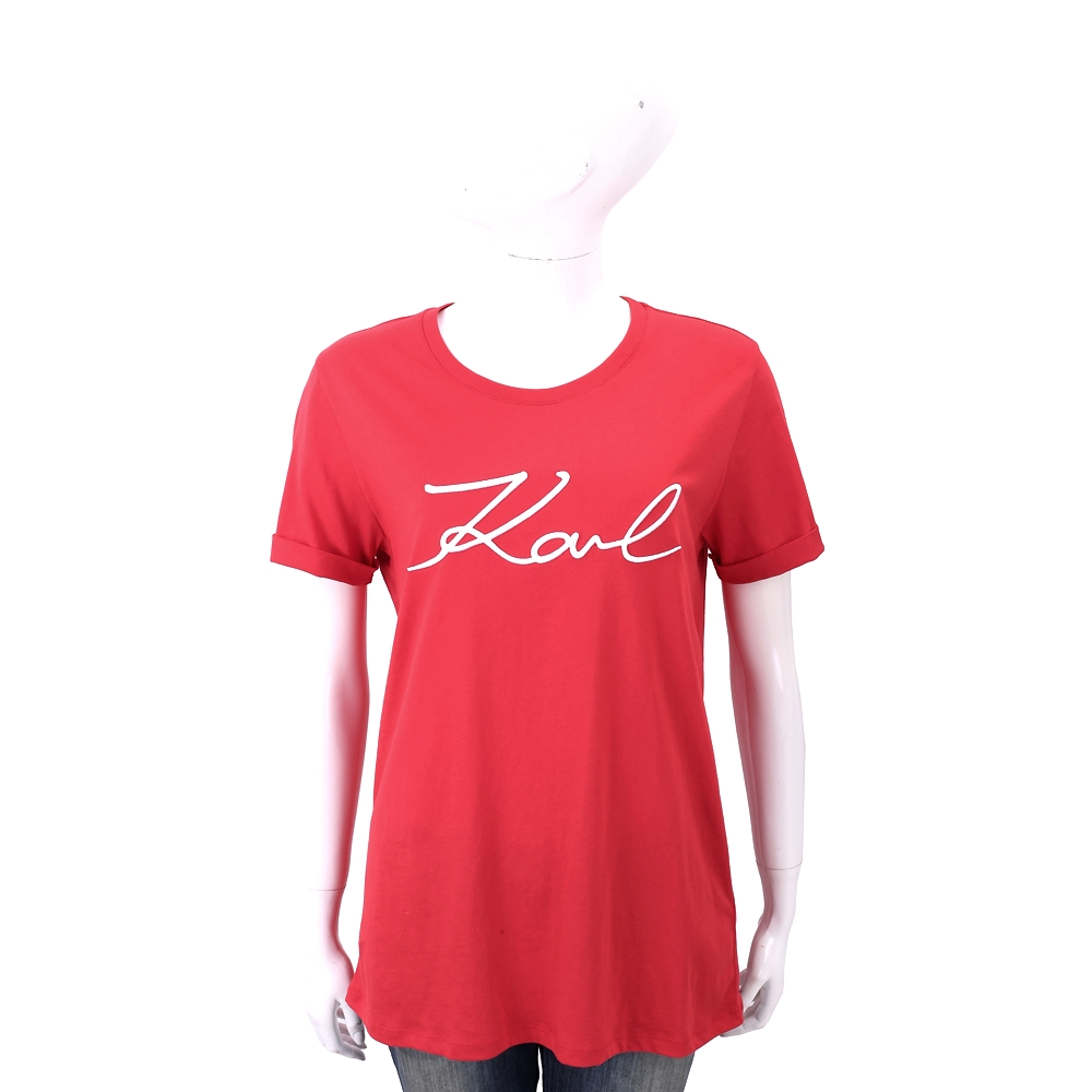 Karl Lagerfeld SIGNATURE 草寫簽名紅色純棉恤