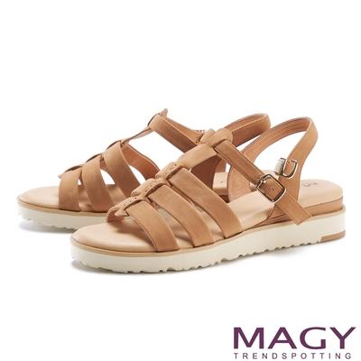 MAGY 魚骨簍空真皮厚底 女 涼鞋 棕色