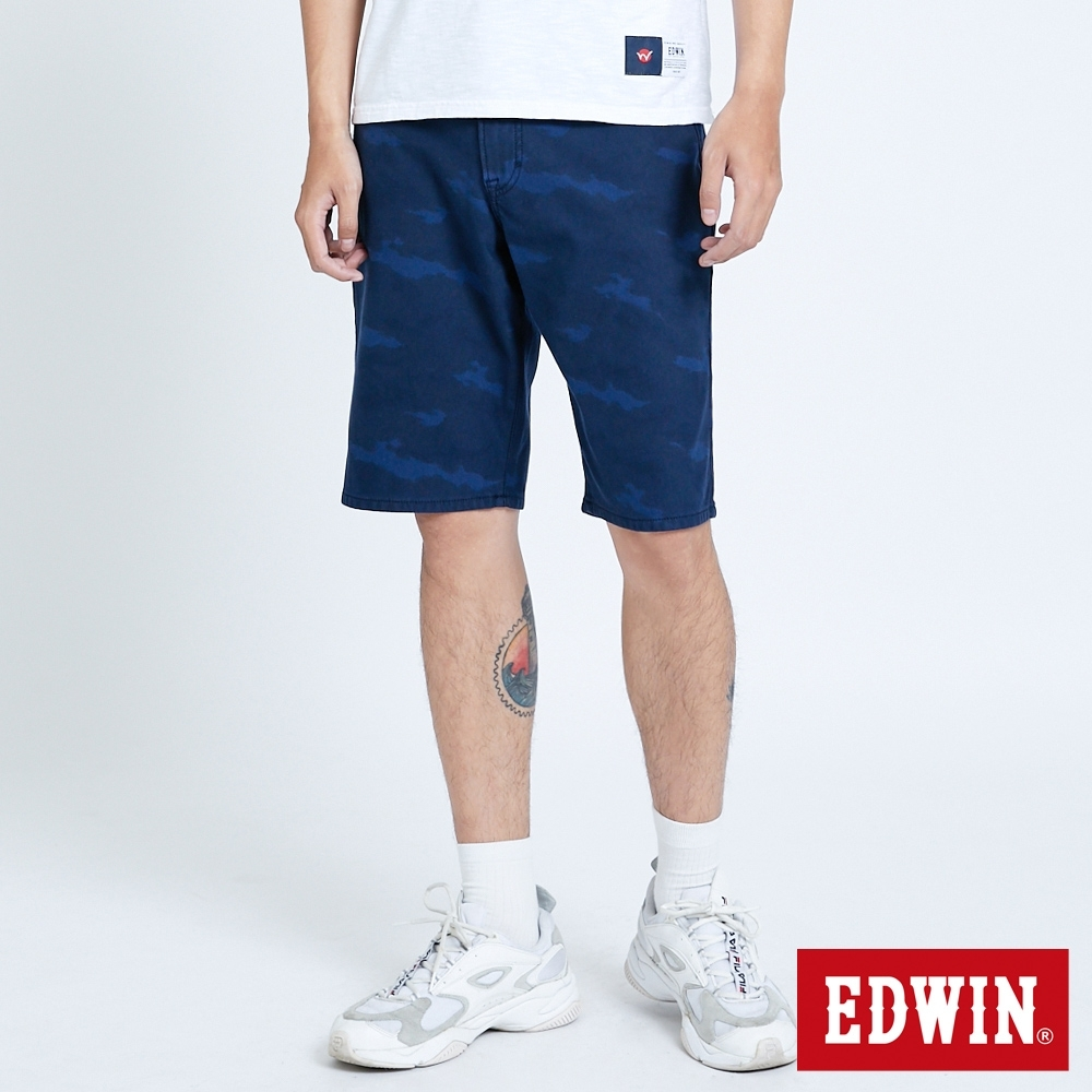 EDWIN JERSEYS 迦績 EJ3 寬鬆迷彩 休閒短褲-男-原藍磨