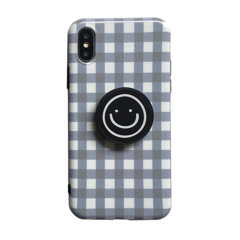【TOYSELECT】iPhone 7/8 Plus 格紋笑臉氣囊支架手機殼:灰白
