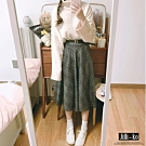 JILLI-KO 學院風高腰毛呢格子半裙-附皮帶- 深灰格