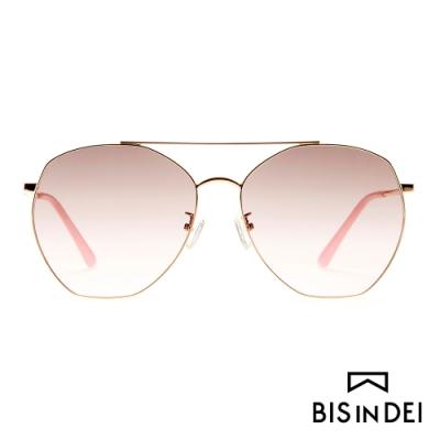 BIS IN DEI 雙槓飛行多角框陽眼鏡-粉