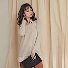 純色坑條拼接雪紡襯衫假兩件式長版上衣-OB嚴選