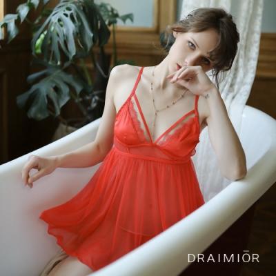 性感睡衣 DRAIMIO絲絨柔紗後開叉短裙睡衣。紅色  久慕雅黛