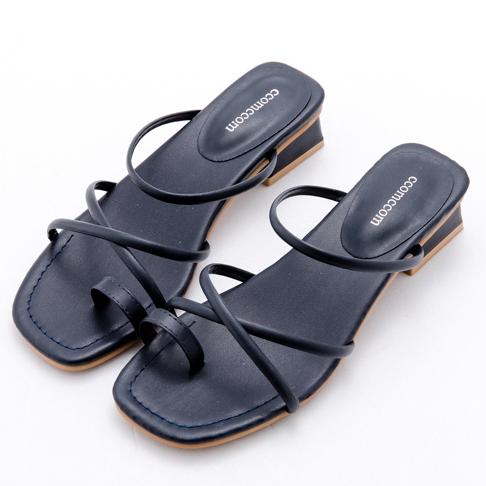 River&Moon涼鞋 交叉細帶套指方頭低跟涼鞋-深藍