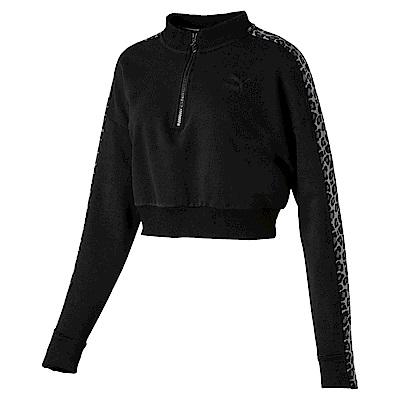 PUMA-女性流行系列野地迷彩T7圓領衫-黑色-歐規