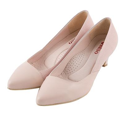 BESO優雅質感 格紋羊皮拼接跟鞋~粉