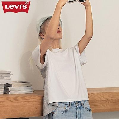 Levis T恤 女裝 拼貼素面 前短後長 白色