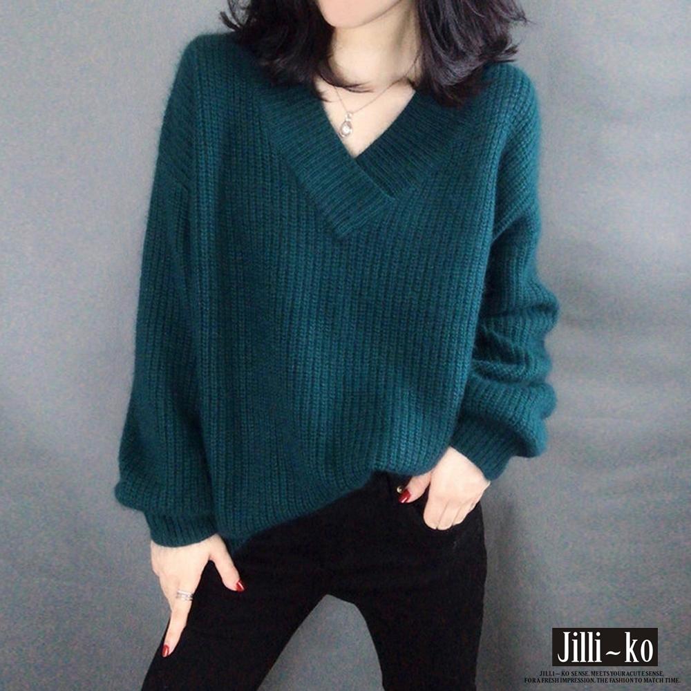 JILLI-KO V領燈籠袖仿羊駝絨針織毛衣- 綠/卡/橘