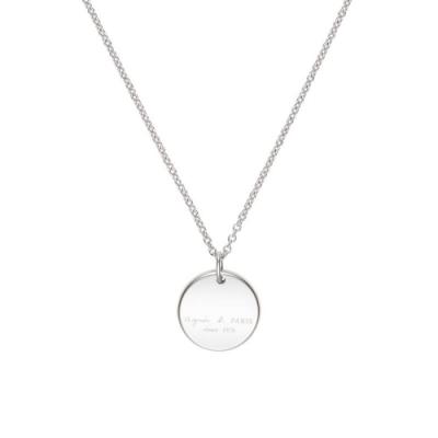 agnes b. 1976品牌經典中性白鋼項鍊對鍊(女)