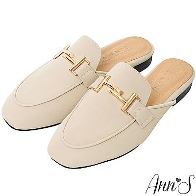 Ann'S自由態度-不破內裡金色雙T扣霧面皮革穆勒鞋-杏(版型偏小)