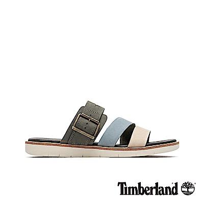 Timberland 女款中灰色撞色休閒露趾拖鞋|A1X7C