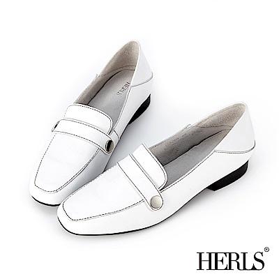 HERLS 氣質都會 全真皮縫線圓釦兩穿樂福鞋-白色