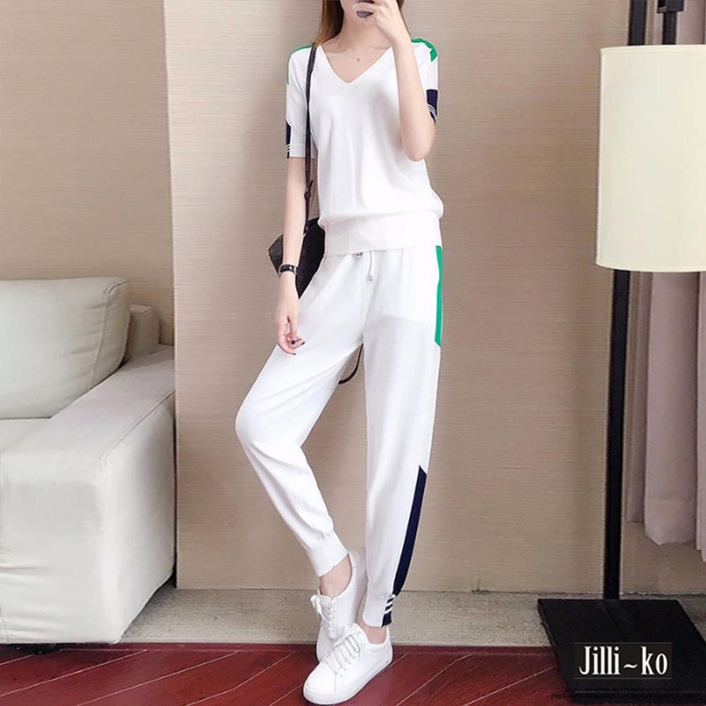 JILLI-KO 兩件套時尚休閒運動套裝- 黑/白