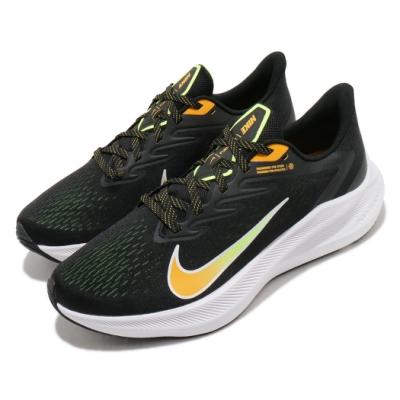Nike 慢跑鞋 Zoom Winflo 7 運動 男鞋 氣墊 輕量 透氣 舒適 避震 路跑 健身 黑 黃 CJ0291007
