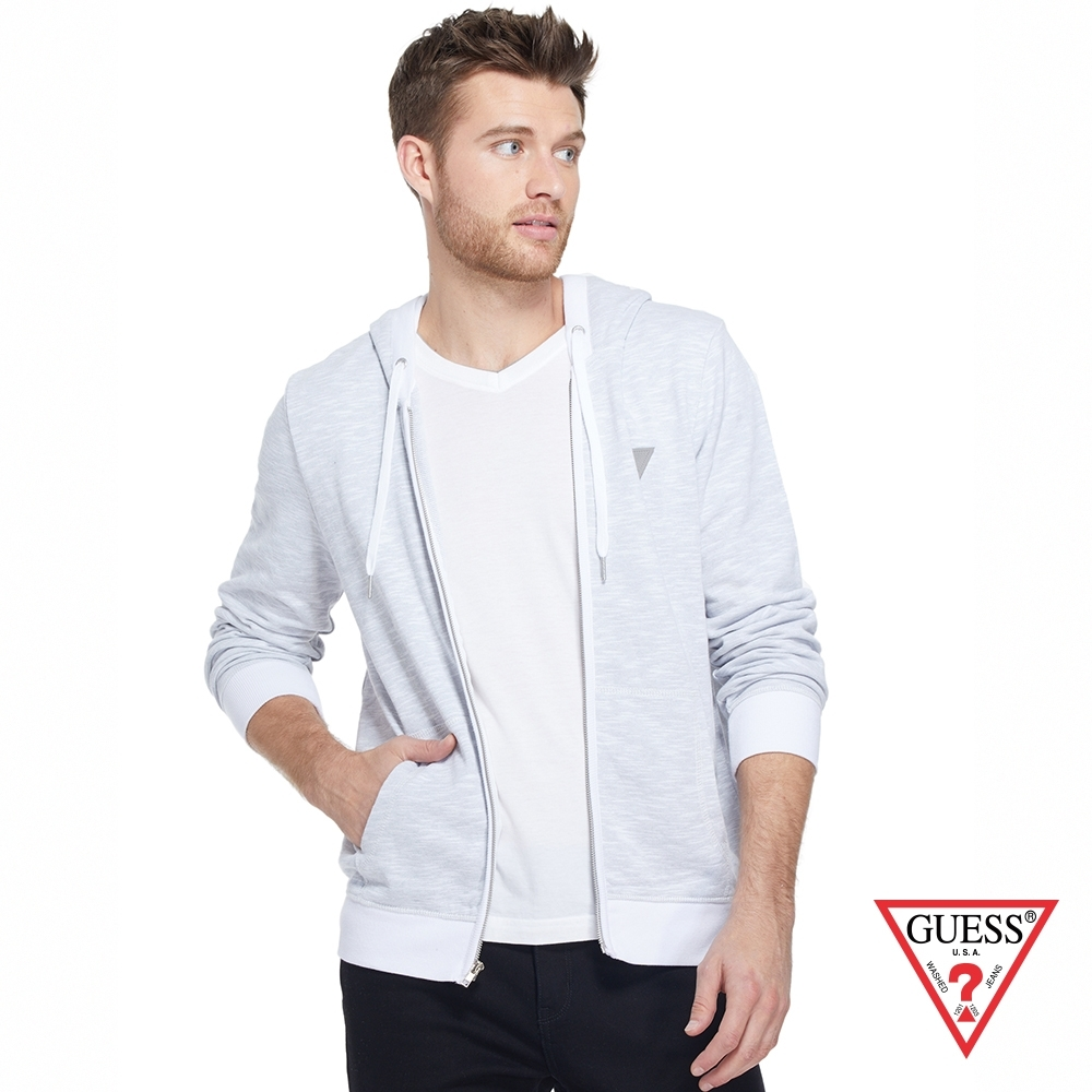 GUESS-男裝-純色簡約LOGO連帽外套-淺灰